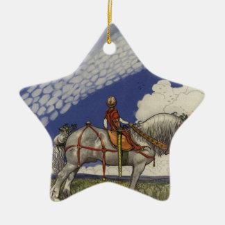 """John Bauer - """"in die weite Welt """" Keramik Stern-Ornament"""
