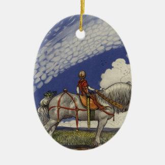 """John Bauer - """"in die weite Welt """" Ovales Keramik Ornament"""