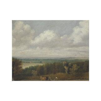 John Constable - pflügende Szene im Suffolk Leinwanddruck