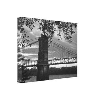 John eine Roebling Hängebrücke 1866 Leinwanddruck