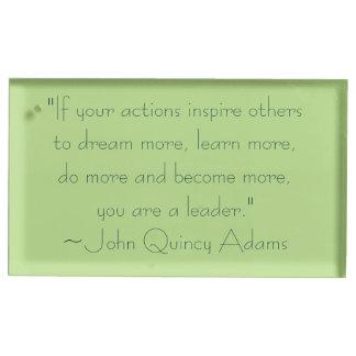 John Quincy Adams-Führungs-Zitat Platzkartenhalter