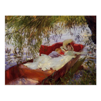 John Sargent- zwei Frauen schlafend in einem Postkarte