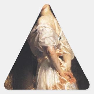 John Singer Sargent - Nancy Astor - schöne Kunst Dreieckiger Aufkleber