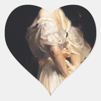 John Singer Sargent - Nancy Astor - schöne Kunst Herz-Aufkleber