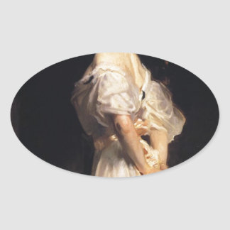 John Singer Sargent - Nancy Astor - schöne Kunst Ovaler Aufkleber