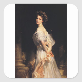 John Singer Sargent - Nancy Astor - schöne Kunst Quadratischer Aufkleber