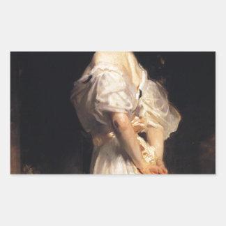 John Singer Sargent - Nancy Astor - schöne Kunst Rechteckiger Aufkleber