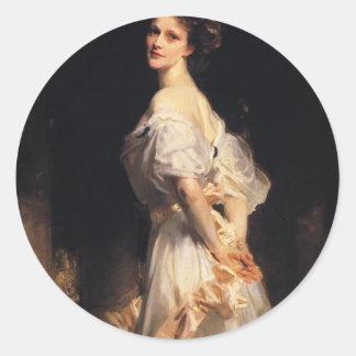 John Singer Sargent - Nancy Astor - schöne Kunst Runder Aufkleber