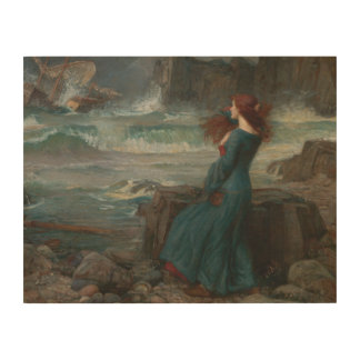 John William Waterhouse - Miranda - der Sturm Holzdruck