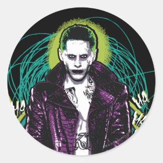 Joker-Retro Felsen-Grafik der Selbstmord-Gruppe-| Runder Aufkleber