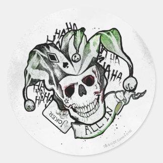 "Joker-Schädel ""aller der Selbstmord-Gruppe-|"" in Runder Aufkleber"