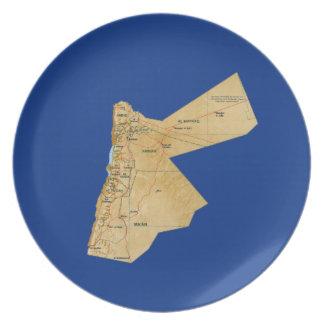 Jordanien-Karten-Platte Teller