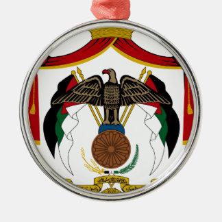 Jordanien-Wappen Rundes Silberfarbenes Ornament