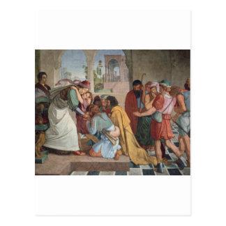 Joseph deckt sich zu seinen Brüdern - Cornelius Postkarte