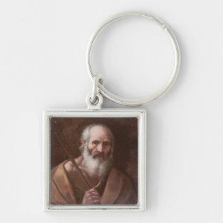 Joseph von Nazaret Silberfarbener Quadratischer Schlüsselanhänger