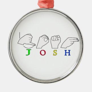 JOSH ASL FINGERSPELLED NAMENSzeichen-MANN Silbernes Ornament