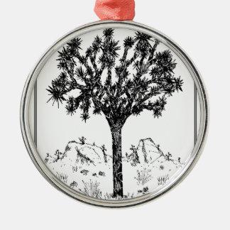 Joshua-Baum (Grenze) Rundes Silberfarbenes Ornament