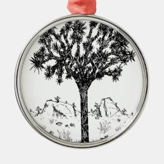 Joshua-Baum (Tag) Rundes Silberfarbenes Ornament