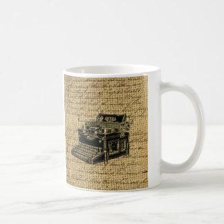 Journalist scripts antike Schreibmaschine der Kaffeetasse