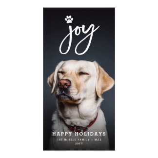 Joy Paw Print Brush Dog Lover Holiday Photo Card Karte