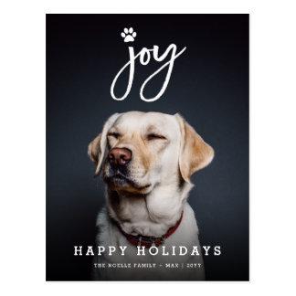 Joy Paw Print Brush Dog Lover Holiday Postcard Postkarte
