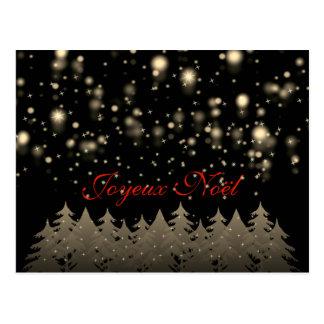 Joyeux Noël Goldsternenklare Nachtschneefall-Bäume Postkarte