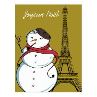 Joyeux Noël Schneemann Postkarte
