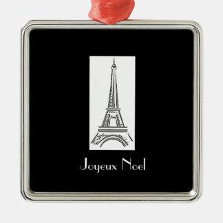 Joyeux Weihnachten-Eiffel-Turm-französische Quadratisches Silberfarbenes Ornament