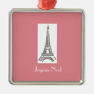 Joyeux Weihnachten-Eiffel-Turm-französische Silbernes Ornament
