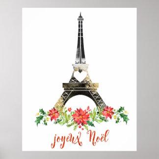 Joyeux Weihnachten Eiffle Turm-Weihnachten Poster