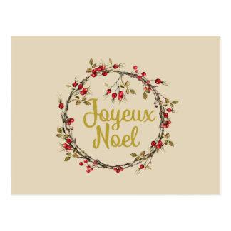 Joyeux Weihnachten-französischer rustikaler Postkarte