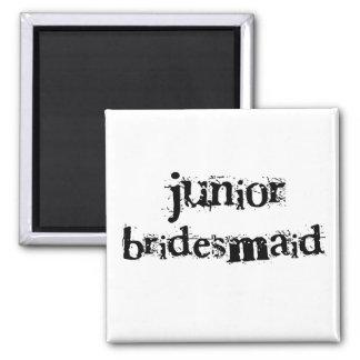 Jr. Brautjungfern-schwarzer Text Quadratischer Magnet