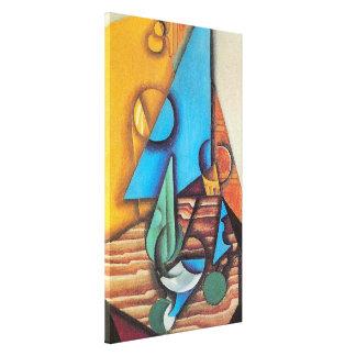 Juan Gris - Flasche u. Glas auf einer Leinwanddruck