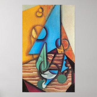 Juan Gris - Flasche u. Glas auf einer Poster