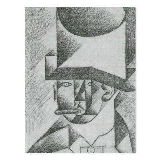 Juan Gris - Kopf eines Mannes mit Zigarre Postkarte