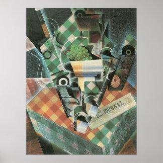 Juan Gris - Stillleben mit überprüfter Tischdecke Poster