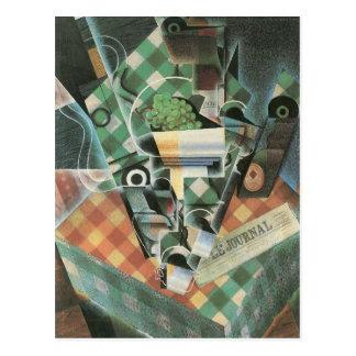 Juan Gris - Stillleben mit überprüfter Tischdecke Postkarte