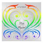 Jubiläum-Regenbogen-Herz-Hochzeits-Einladung