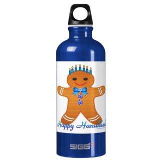 Judaika-Chanukka-Lebkuchen-Mann Menorah Aluminiumwasserflasche