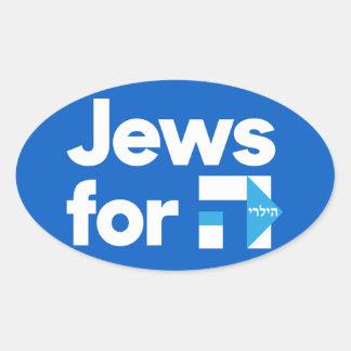 Juden für Hebräer-Autoaufkleber H Hillary Clinton Ovaler Aufkleber
