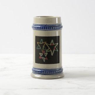 Jüdische Neonsterne Stein Bierglas