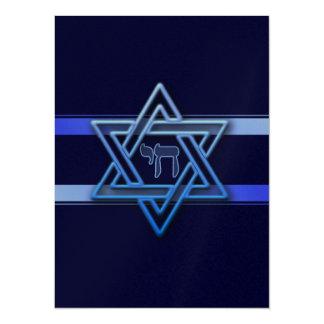 Jüdischer Davidsstern Hebräer-Chaiblau und -WEISS Karte