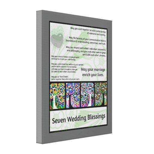Jüdischer sieben Wedding Segen-Baum des Lebens Ham Gespannter Galeriedruck
