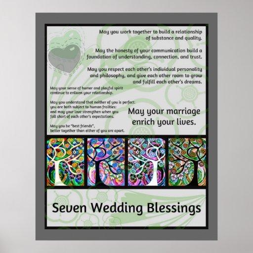 Jüdischer sieben Wedding Segen-Baum des Lebens Ham Posterdruck
