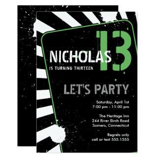Jugendlich Grün der Jungen-Party Einladungs-| 12,7 X 17,8 Cm Einladungskarte