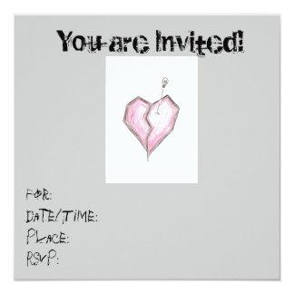 Jugendlich Herz-Schädel-Einladungs-Geburtstag Quadratische 13,3 Cm Einladungskarte