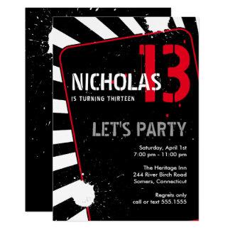 Jugendlich Jungen-Party Einladung | schwarz, Weiß