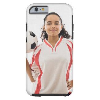 Jugendlich Mädchen, DAS in der Hand Fußball, Portr Tough iPhone 6 Hülle