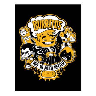 """Jugendlich Titanen gehen!   Tier-Junge """"Burritos Postkarte"""
