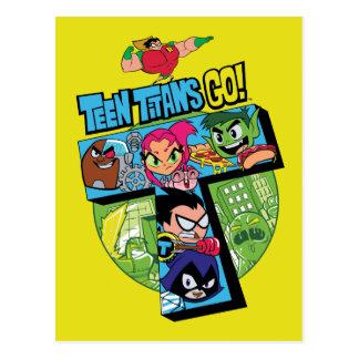 Jugendlich Titanen gehen!   Titan-Turm-Collage Postkarte